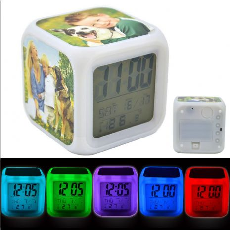 Personalised 3 PHOTO Colour Changing Light Up Alarm Clock